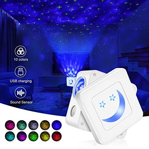 Lámpara de proyección LED,Tanbaby proyector de cielo estrellado,10 colores, 3 modos,3 niveles de brillo ajustable, función de temporizador, lámpara de cielo estrellado para niños,dormitorios, Navidad