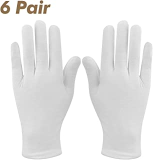 White Gloves, IXIGER 12 Pcs Soft 100% Cotton Gloves, Coin Jewelry Silver Inspection Gloves, Sweat-Absorbent Non-Slip Stretchable Lining Glove, Large Size