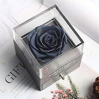 リングバレンタインデーのギフト誕生日プレゼントを置くことができるガラスドーム永遠のバラの装飾赤いギフトボックスに保存 HYFJP (Color : グレー, Size : フリー)
