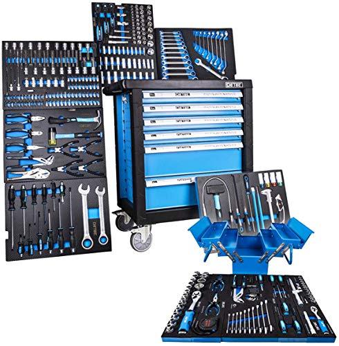 DeTec. 3066 Werkstattwagen bestückt 6/6 Schubladen inkl. DeTec. Klapp-Werkzeugkasten (Tragbare...