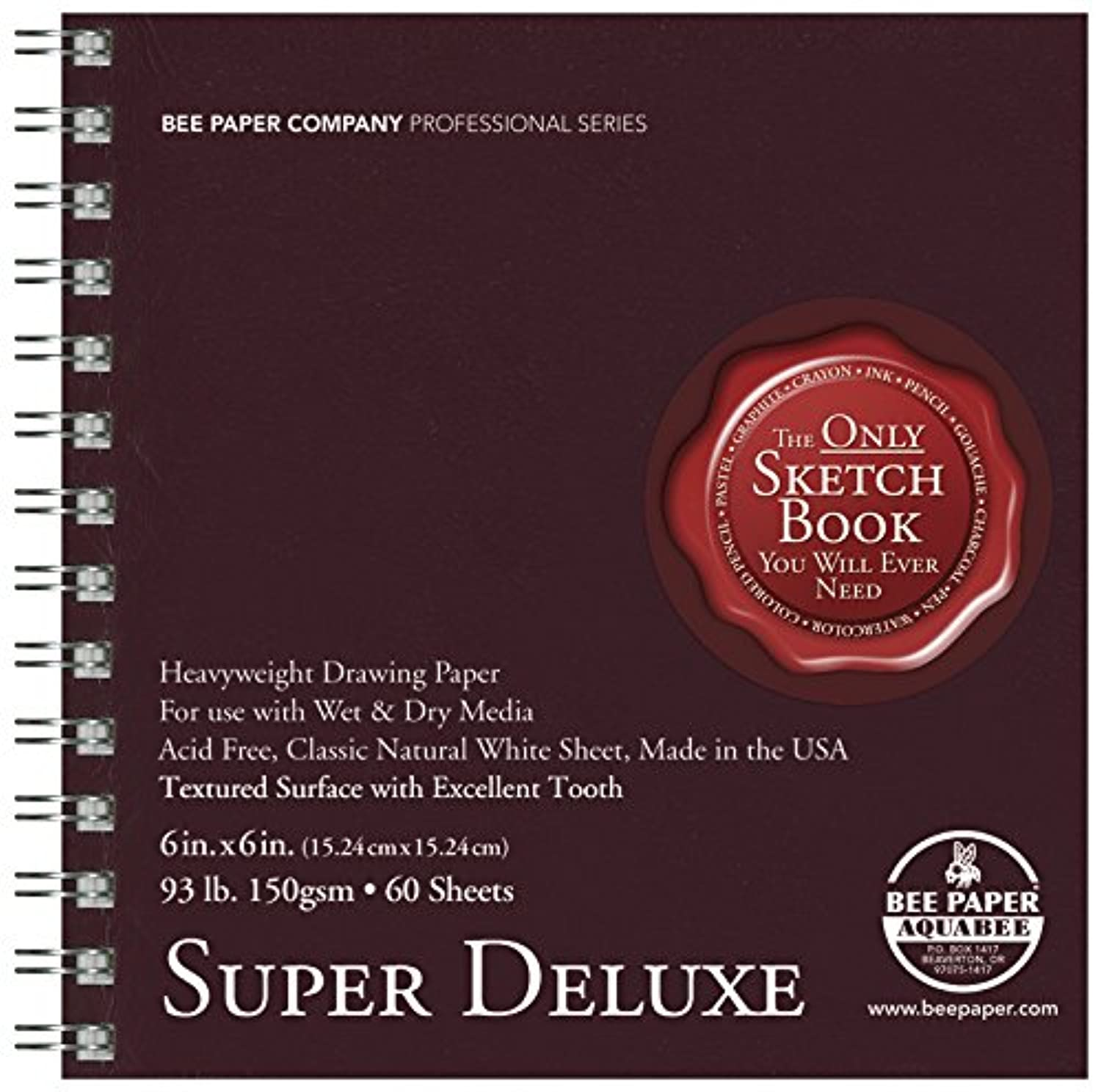 Bee Paper Company 808S60-606 Bee Paper Super Deluxe Sketch Pad, 6-Inch by 6-Inch