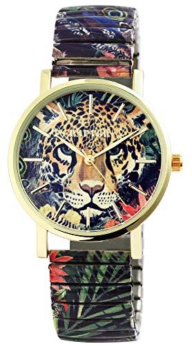 Raptor Colorful Edition Damen-Uhr Zugband Edelstahl Motiv Bunt Print Analog Quarz RA10205