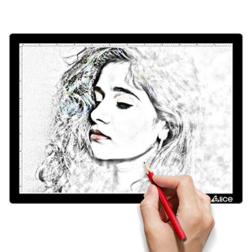 LED Light Pad, ELICE A4 Wireless Battery Powered Light Pad Artcraft Tracing Pad Light Box Dimmable Brightness Rechargeable Light Board for Artists Drawing Sketching Animation Stencilling X-ray Viewing