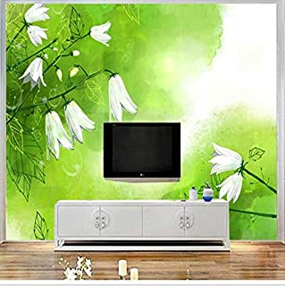 Lifme Custom Mural 3D White Lily The Valley Wallpaper Walls 3D Art Green Fresh Wall Covering Living Room Home Decor Tv Wall-400X280Cm