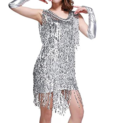 Whitewed V Neck 1920s Sequin Fringe Charleston Flapper Dance Dresses Costumes