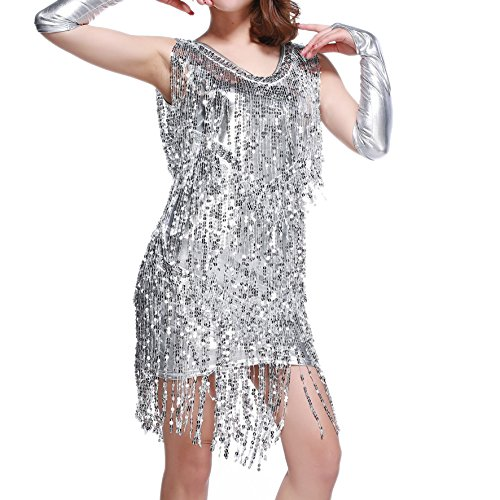 Sparkly 1920 20s Fashion Women's Great Gatsby Costumes Stage Dresses Wear Silver