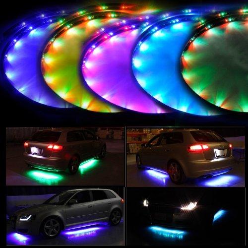 Lychee 7 Farben Wasserdicht Flexible LED Unterbodenbeleuchtung Sound Active Function und drahtlose Funkfernbedienung mit 180 LEDs