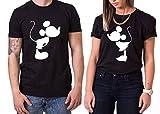 Kiss Mouse King Queen Partner Look Pärchen Valentinstag T-Shirt Set, Größe:L;Partner Shirts:Herren T-Shirt Schwarz