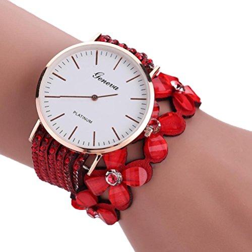 Xinantime Relojes Pulsera Mujer,Xinan Flores Reloj de Cuarzo Brillante (Rojo)