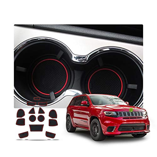 Interior Accessories for 2011-2017 Jeep Grand Cherokee WK2 Cup Holder,Door Groove and Center Console Liner Mat Non-Slip Gate Slot Pad for DoorMats (Red)