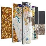 Giallobus Pintura de Paneles múltiples 5 Piezas - Gustav Klimt - Maternidad - Imprimir en Madera MDF - Pronto da appendere - 140x100 cm