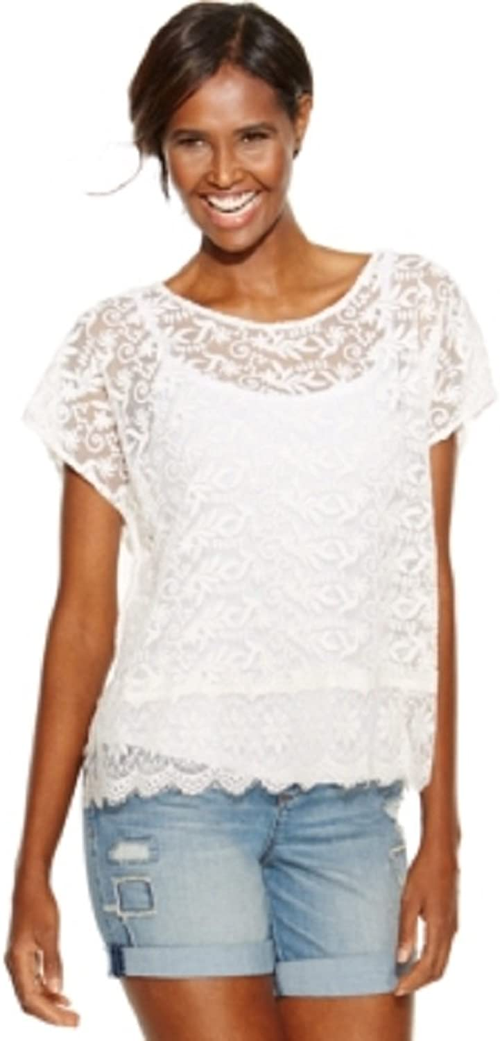 International Concepts Sheer Embroidered Lace Top White Medium