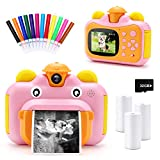 32GB Instant Print Cameras for Kids, Zero Ink 1080p Video Kids Digital 12MP Selfie Camera for Girls,INKPOT Birthday Gift Photo Printer Camera for Kids Age 6 7 8 9 10-Color Pens,Print Papers