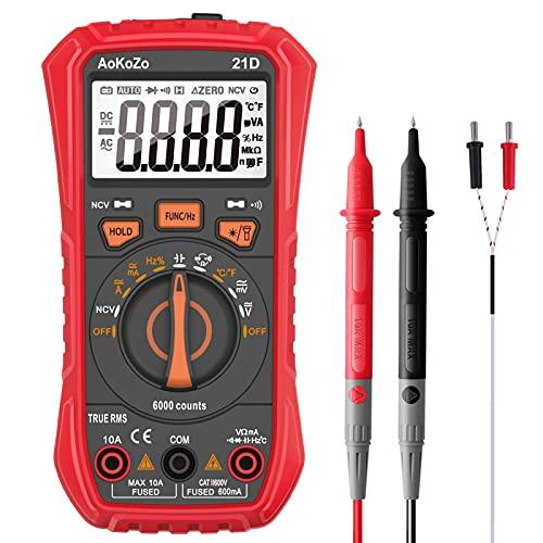 Multimetro Digitale Automatico,AoKoZo 21D 6000Conti Tester Digitale,TRMS(Dimensioni147*71*45 mm)