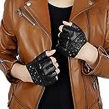【Fioretto】革手袋 レディース レザー ドライビンググローブ 皮 指なし 指ぬき 手作り 個性的 ロック パンク スタッズ 運転 車 バイク ドライブ フィンガーレス 180413