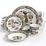 xmas dishes - Gibson Home Christmas Toile 16 Piece Dinnerware Set, Multicolor - 102001.16RM