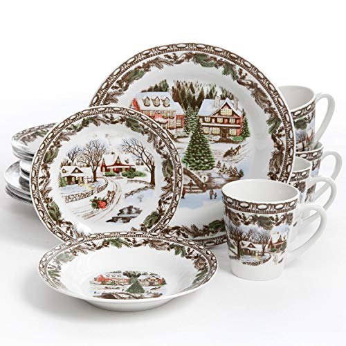 Gibson Home Christmas Toile 16 Piece Dinnerware Set, Green