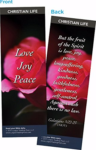 Christian Bookmark with Bible Verse, Pack of 25, Christian Life Themed, Love Joy Peace, Fruits of the Spirit, Galatians 5:22-23