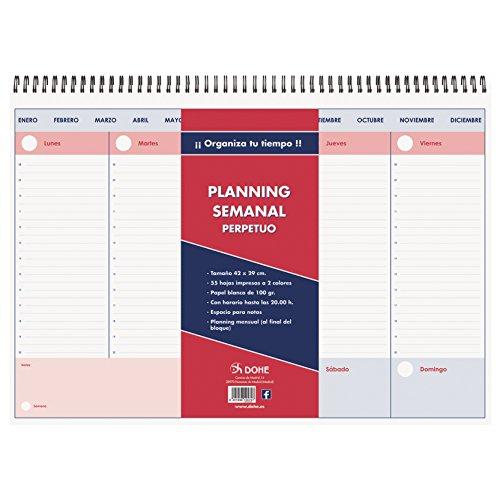 Dohe - Planificador Semanal Perpetuo - Planning Semanal Sobremesa - 42 x 29 cm