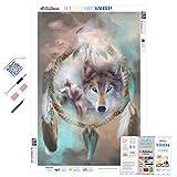 Diamond Painting Kits for Adults by Paint With Diamonds XL 60x40cm 'Wolf Dreams of Peace' Full Canvas Square Diamonds (Plus Free Premium Diamond Pen)