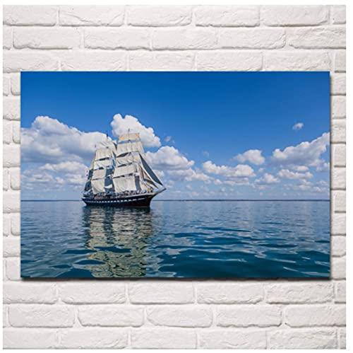 Velero navegando en el mar Mar Barco de Vela Nubes Fondos de Pantalla Obra clásica Póster |Cuadro sobre Lienzo para Pared 60x80 cm sin Marco
