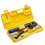 10 Ton Hydraulic Wire Battery Cable Lug Terminal Crimper Crimping Tool 8 Dies Fit for Crimping wires