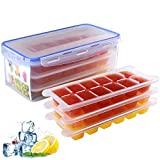 SINKDA 3-Pack Large Ice Cube Trays Mold (36Cubes) with Ice Cube Bin (115oz) for Freezer--Easy to Make and Store More Ice Cubes
