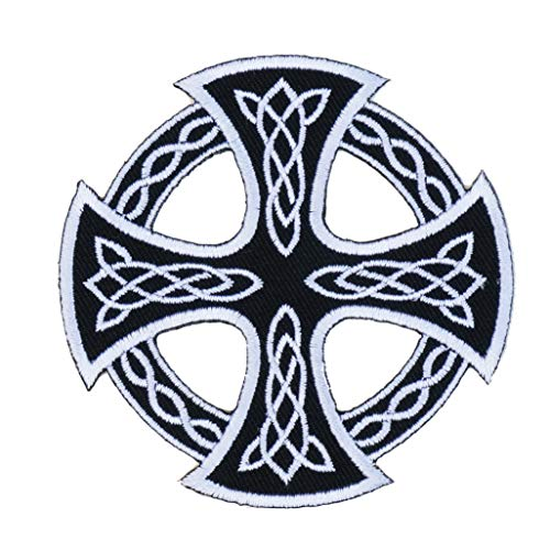 Graphic Dust Celtic Cross Embroidered Iron On Patch Applique Irish British Symbol Sign Celtic Knot