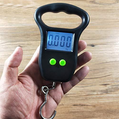 Zfwlkj Küchenwaage Digitale Gepäckwaage mit bequemen Griffhaken 110LB / 50 kg für das Fischen Steelyard Hängen elektronischer Maßstab elektronisch (Color : Black)