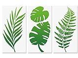 Stencil foglia tropicale, foglia di felce Monstera Foglie di palma Stencil da parete 3 pezzi per mobili Tela Decorazioni per la casa Artigianato Foglie botaniche Stencil riutilizzabili 15x30cm