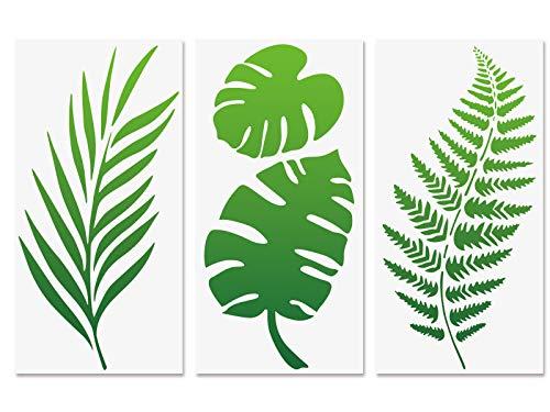 Tropische Blattschablonen, Farnblatt Monstera Palmblätter Wandschablone 3 Stück für Möbel Leinwand Wohnkultur Handwerk Botanische Blätter Wiederverwendbare Mylar-Schablonen 15x30cm