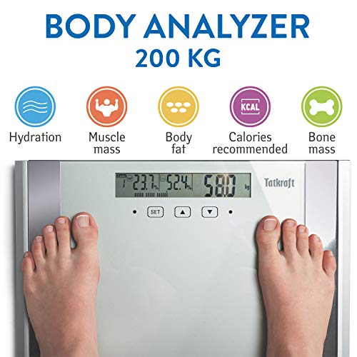 Tatkraft Fitness | Digitalwaage Körperanalysegerät | Körperfett und Muskelmasse Messung | bis zu 200 Kg Traglast | für bis zu 12 Nutzer | puristisch- Elegantes Design