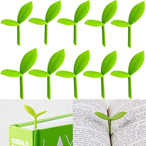 10 Pieces Green Sprout Little Bookmarks Silicone Small Grass Buds Cute Book Mark Decoration Creative Gifts