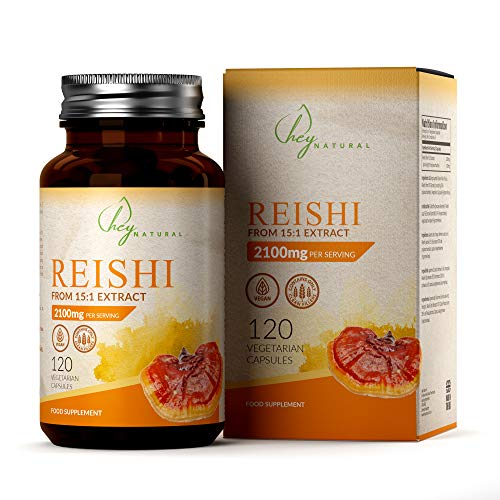 HN Reishi Extrakt Kapseln | Adaptogenes Pilzpulver | 120 Vegane Kapseln | Saubere Füllstoffe | Hochdosiert 2100mg pro Portion (15:1 Extrakt) | Frei von GVO, Gluten, Milch & Allergenen