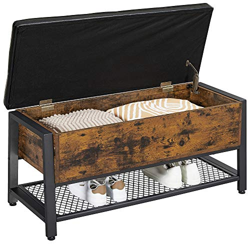 VASAGLE Industrial Storage Bench, Shoe Bench, Bed End Stool with Padded Seat and Metal Shelf, Storage Chest, Sturdy Steel Frame,Hallway, Living Room, Rustic Brown and Black ULSB47BX