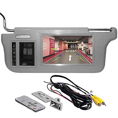 GGTFA Antriebsseite Sunvisor Rückspiegel Monitor Sonnenblende Touch Taste für Auto Kamera GPS DVD TV Grau