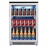 Advanics 20 Inch Wide Beverage Refrigerator and Cooler, Auto Defrost 110 Can Mini Fridge with Led Lighting for Beer Soda or Wine, Small Drink Center for Office or Bar, Stainless Steel & Glass Door