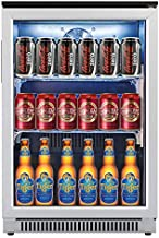 Advanics 20 Inch Wide Beverage Refrigerator and Cooler, Auto Defrost Small Fridge with Glass Door for Beer Soda Wine, Built in/Freestanding