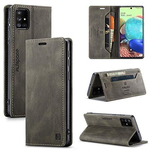 Happy-L Funda para Samsung Galaxy A71 4G, funda tipo cartera de piel con bloqueo RFID, cierre magnético, soporte para ranura para tarjeta, funda con función atril, funda de TPU suave (color gris)