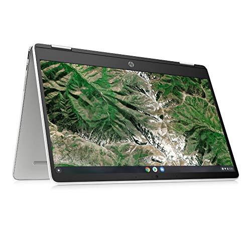 HP Chromebook x360 14a-ca0217ng (14 Zoll / HD Touch) 2in1 Convertible Laptop (Intel Celeron N4020, 4GB LPDDR4 RAM, 64GB eMMC, Intel UHD Grafik, Chrome OS, QWERTZ) weiß