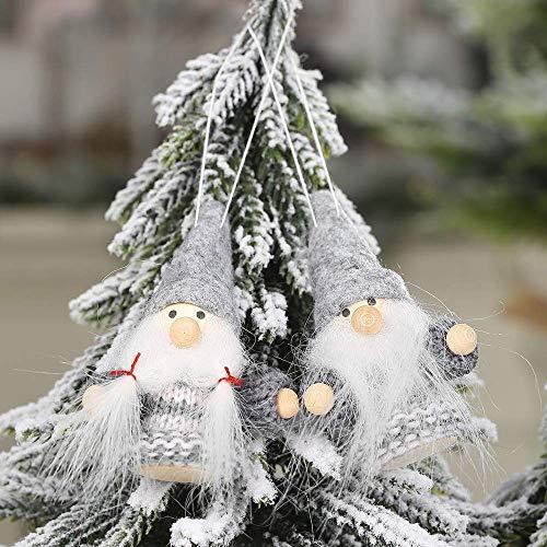 Claus Ornament Party Weihnachtsbaum Anhänger, niedlich gestrickte gesichtslose Puppe Weihnachtsmann Junge Xmas Decor Ornamente Home Bra Hotel Mall Party gefallen Dekoration Lieferungen (B)