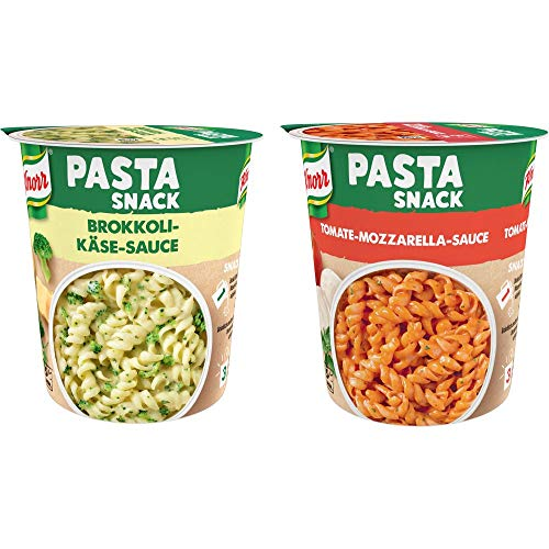 Knorr Pasta Snack Tomaten-Mozzarella-Sauce, 8 x 72 g + Knorr Pasta Snack Käse-Kräuter-Sauce (ohne geschmacksverstärkende Zusatzstoffe) 65 g x 8