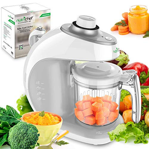 Digital Baby Food Maker Machine - 2-in-1 Steamer Cooker and Puree Blender Food Processor with Steam Timer - Steam Blend Organic Homemade Food for Newborn Babies, Infants, Toddlers - NutriChef PKBFB18