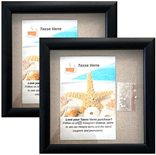 (2-pack) 8'x8' Black Display Shadow Box Frame w/ Linen Background and 16 Stick Pins - Ready To Hang...