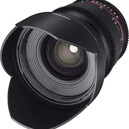 Samyang F1322701101 - Objetivo para vídeo VDSLR para Canon EF (Distancia Focal Fija 16mm, Apertura T2.2-22 ED AS UMC CS II, diámetro Filtro: 77mm), Negro