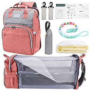 Baby Diaper Bag Backpack Girl with Changing Station, Travel Bassinet Foldable Baby Bed, Baby Portable Crib, Mummy Backpack,Large Capacity, Waterproof, Travel Bed Diaper Pad Stroller Organizer (Pink)