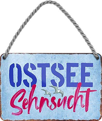 """Blechschild Schöner Spruch """"Ostsee Sehnsucht"""" Deko Hängeschild Tür Ostsee Nordsee Meer Strand Witziges Geschenk zum Geburtstag oder Weihnachten 18x12 cm"""