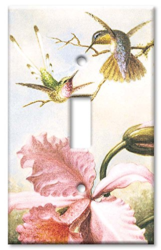 Art Plates - Single Gang Toggle OVERSIZE Switch Plate/OVER SIZE Wall Plate - Heade: Orchids & Hummingbirds