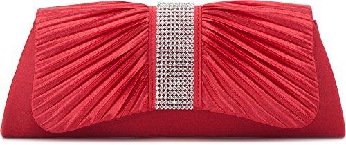 VINCENT PEREZ, Clutch, Abendtaschen, Umhängetaschen, Unterarmtaschen aus Satin mit Raffung und Strasssteinen, mit Abnehmbarer Kette (120 cm) 27x11x5 cm (B x H x T), Farbe:Rot (Koralle)