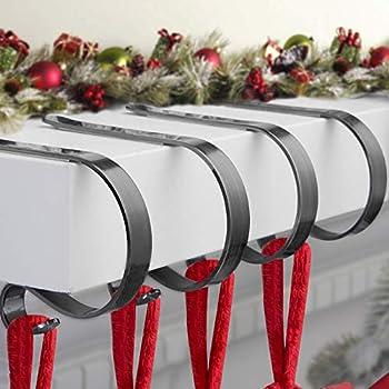 Christmas Stocking Holder for Mantle Set 4,Protective Pads Christmas Stocking Holders for Fireplace Mantle,Multi-uses Stocking Hooks for Mantle